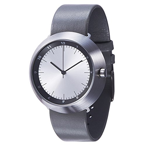 Normal Timepieces Fuji Edelstahl Gebuerstet Silber Leder Schwarz Grau