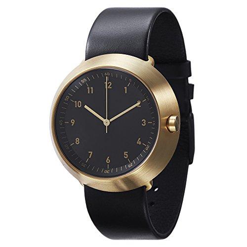 Normal Timepieces Fuji Edelstahl Gebuerstet IP Gold Leder Schwarz