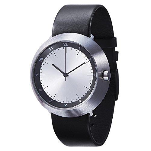 Normal Timepieces Fuji Edelstahl Gebuerstet Silber Leder Schwarz