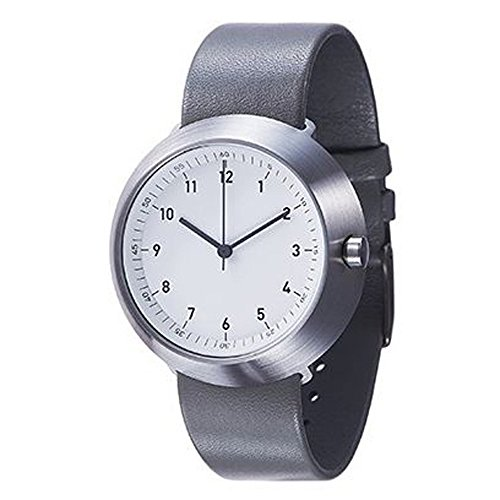 Normal Timepieces Fuji Edelstahl Gebuerstet Weiss Leder Grau Unisex Uhren