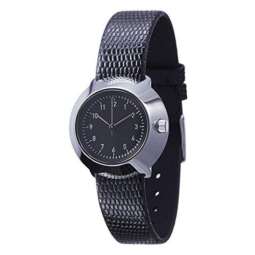 Normal Timepieces Fuji Edelstahl Poliert Leder Texture Schwarz Frau Uhren