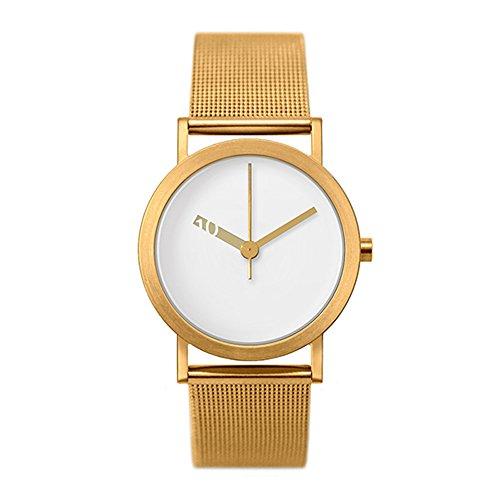 Normal Timepieces Extra Normal Quarz Edelstahl Stahlnetz IP Gold Weiss Frau Uhren