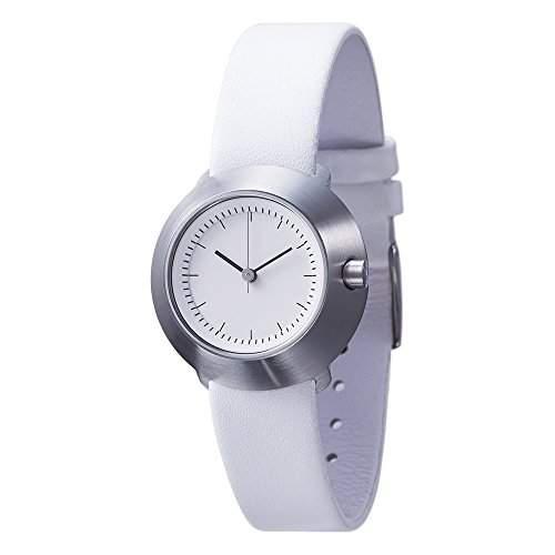 Normal Timepieces Fuji Edelstahl Gebuerstet Weiss Leder Schwarz Frau Uhren F31 01 20WH