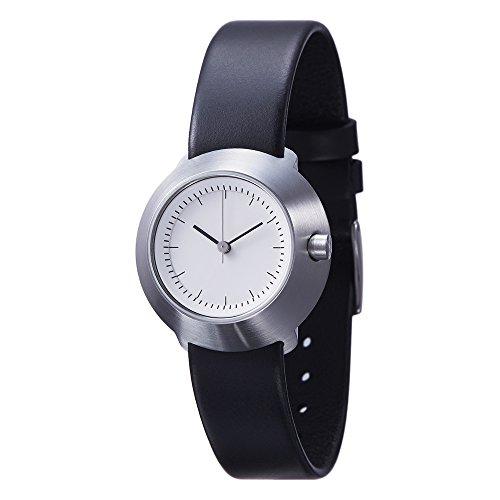 Normal Timepieces Fuji Edelstahl Gebuerstet Weiss Leder Schwarz Frau Uhren F31 01 20BL