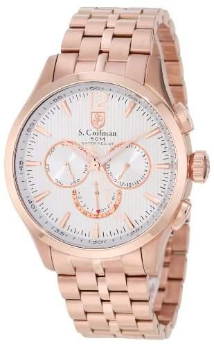 sCoifman MenQuarz-Uhr mit weissem Zifferblatt Chronograph Anzeige und Rosé Gold Edelstahl Armband SC0129