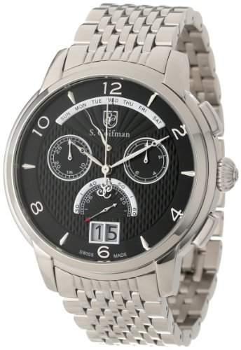 sCoifman MenHerren Quarzuhr mit schwarzem Zifferblatt Chronograph Anzeige und Silber-Edelstahl-Armband SC0184