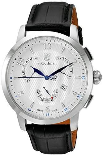 sCoifman MenHerren Armbanduhr Chronograph Leder schwarz SC0228