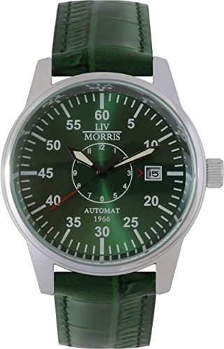 LIV MORRIS Automatikuhr 1966 YORK Lederarmband Edelstahl-Glasboden mechanische lumineszierende Armbanduhr
