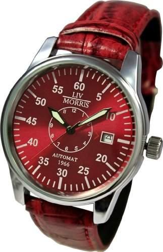 LIV MORRIS Automatikuhr 1966 VENEDIG Lederarmband Edelstahl-Glasboden mechanische lumineszierende Armbanduhr