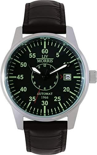 LIV MORRIS 1966 Automatikuhr LUEBECK Lederarmband Edelstahl-Glasboden mechanische lumineszierende Herren Armbanduhr