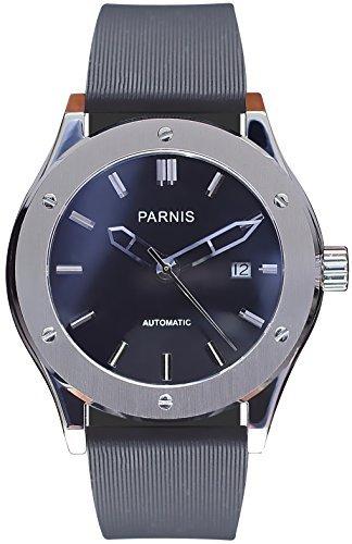 PARNIS Automatikuhr Modell 2044 44mm Edelstahlgehaeuse Saphirglas 5BAR wasserdicht Kautschuk Armband Automatik Uhrwerk