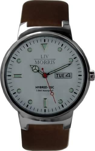 LIV MORRIS HYBRID Herrenuhr Modell INDRA poliertes Edelstahlgehaeuse feines Kalbslederarmband 5BAR Wasserdicht DIN 8310