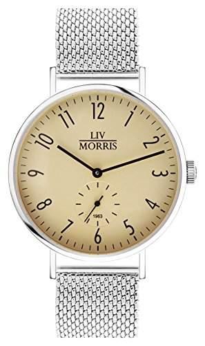 LIV MORRIS Bauhaus Automatikuhr 1963 CALLISTO MESH - Armbanduhr im Bauhausstil Saphirglas Mesharmband Ø 41mm Herrenuhr altgold