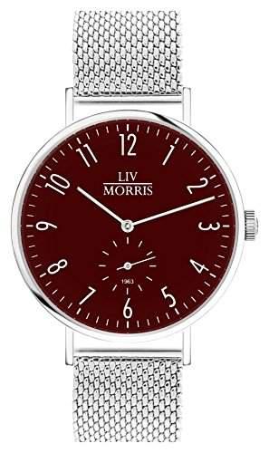 LIV MORRIS Bauhaus Automatikuhr 1963 HYPERION MESH - Armbanduhr im Bauhausstil Saphirglas Mesharmband Ø 41mm Herrenuhr dunkel rot
