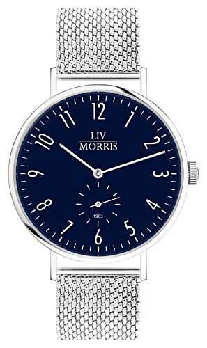 LIV MORRIS Bauhaus Automatikuhr 1963 PROSPERO MESH - Armbanduhr im Bauhausstil Saphirglas Mesharmband Ø 41mm Herrenuhr dunkel blau