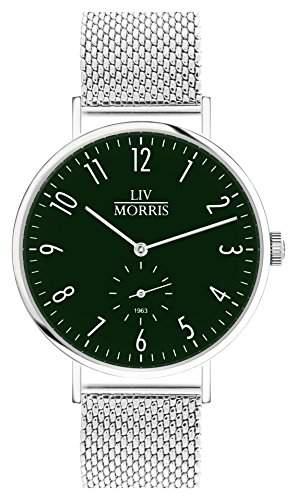 LIV MORRIS Bauhaus Automatikuhr 1963 TELESTO MESH - Armbanduhr im Bauhausstil Saphirglas Mesharmband Ø 41mm Herrenuhr dunkel gruen