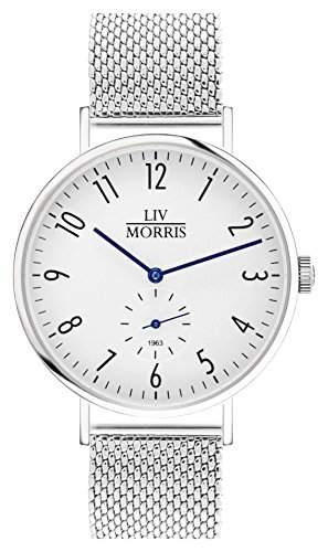 LIV MORRIS Bauhaus Automatikuhr 1963 TETHYS MESH - Armbanduhr im Bauhausstil Saphirglas Mesharmband Ø 41mm Herrenuhr weiss