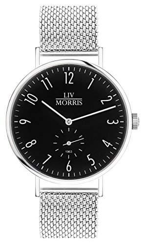 LIV MORRIS Bauhaus Automatikuhr 1963 TRITON MESH - Armbanduhr im Bauhausstil Saphirglas Mesharmband Ø 41mm Herrenuhr schwarz
