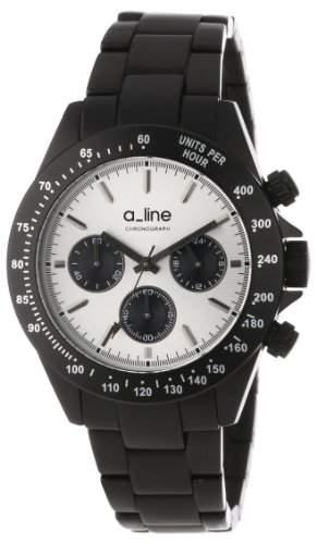 A_LINE AMORE DAMEN 41MM CHRONOGRAPH SCHWARZ ARMBAND MINERAL GLAS UHR 20050-BK-SL
