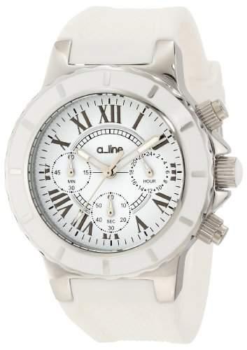 a_line Marina Damen-Armbanduhr 40mm Chronograph Armband Silikon Weiss Gehaeuse Edelstahl Quarz 20101DV