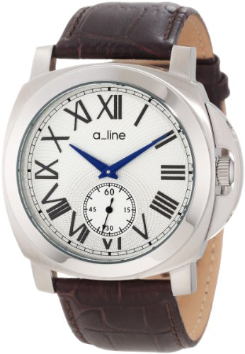 a line Damen 80007 02 BR Pyar Silver Textured Dial Brown Leather Uhr