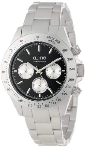 A_LINE AMORE DAMEN 41MM CHRONOGRAPH SILBER ARMBAND MINERAL GLAS UHR 20050-SL-BK