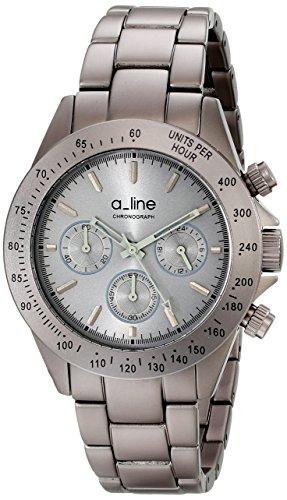 A Line 20050 gr Armbanduhr Quarz Chronograph Zaehler Geschwindigkeit Armband Edelstahl vergoldet grau
