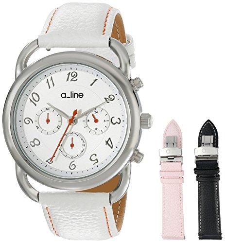 Damen Maya Chronograph Silver Dial White Genuine Leather