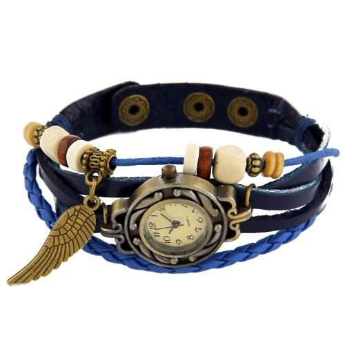 RE:CRON Damen Armbanduhr Leder mit Anhaenger Fluegel blau - verschiedene Farben waehlbar