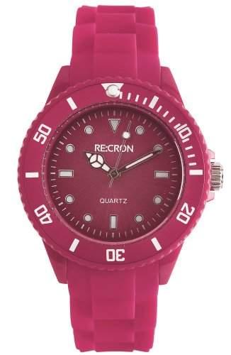 Beerenfarbene RE:CRON Damen Armbanduhr Analog Silikon  verschiedene Farben waehlbar