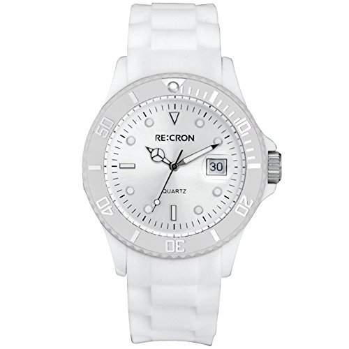 Weisse RE:CRON Unisex Armbanduhr Analog Uhr  verschiedene Farben waehlbar