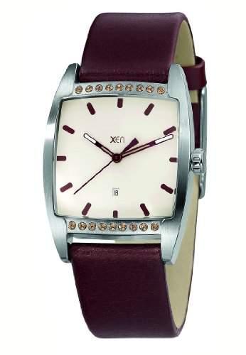 XEN Damen Armbanduhr mit 18 Swarovski Steinen und Lederarmband XQ0234