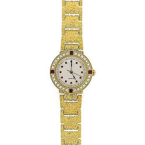 Goldfarbene Damen Armbanduhr mit roten Zirkonia GOTW103