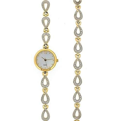 Goldfarbene Kristall Damen Armbanduhr und Armband Geschenkset GOTW94