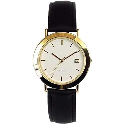Herren Armbanduhr mit Kalender und schwarzem Lederarmband GOWT116