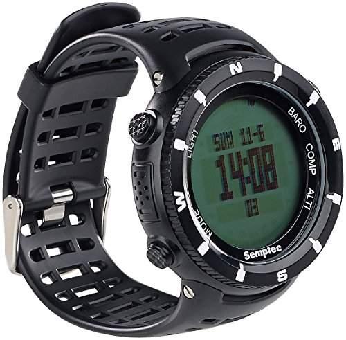 Semptec Urban Survival Technology Outdoor-Armbanduhr fuer Trekking, Black-Edition