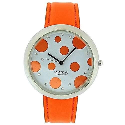 ZAZA LONDON LLB850 Modische Damenarmbanduhr mit rot-gepunktetem Ziffernblatt und orangefarbenem PU-Armband