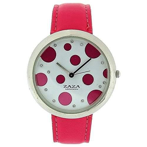 ZAZA LONDON LLB850 Modische Damenarmbanduhr mit rot-gepunktetem Ziffernblatt und pinkfarbenem PU-Armband