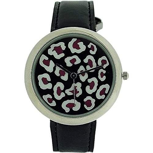 ZAZA LONDON Damen Armbanduhr mit zweistufigem Ziffernblatt im Leopardendesign und schwarzem Lederarmband LLB851