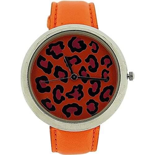 ZAZA LONDON Damen Armbanduhr mit zweistufigem Ziffernblatt im Leopardendesign und orangefarbenem Lederarmband LLB861