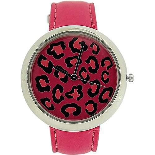 ZAZA LONDON Damen Armbanduhr mit zweistufigem Ziffernblatt im Leopardendesign und pinkfarbenem Lederarmband LLB851