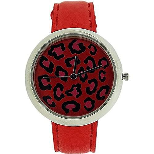 ZAZA LONDON Damen Armbanduhr mit zweistufigem Ziffernblatt im Leopardendesign und rotem Lederarmband LLB851