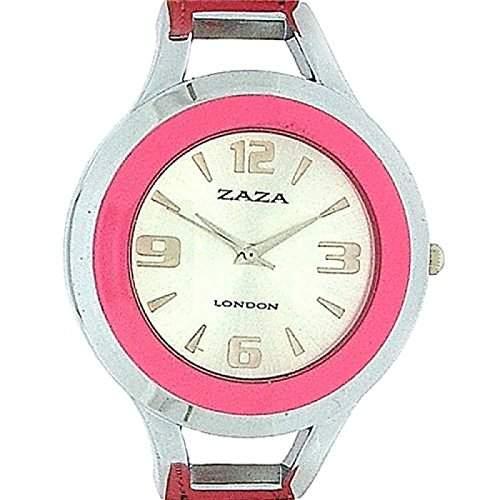 Zaza London silberfarbene erhabene Damenuhr mit Sonnenstrahl Zifferblatt und rosa Armband LLB 853 -