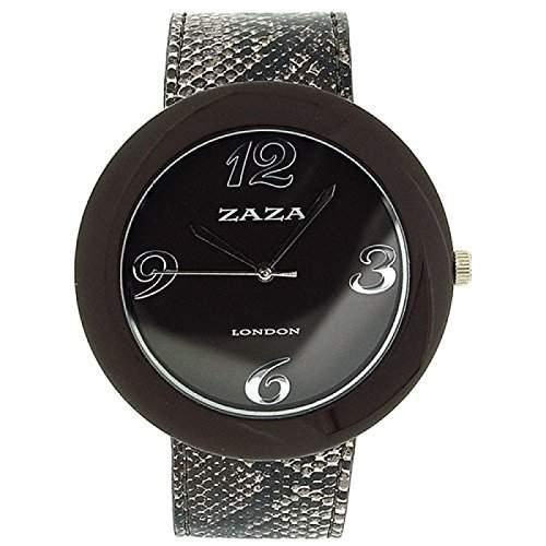 ZAZA LONDON LLB855 Modische Damenarmbanduhr mit braunem PU-Armband und Ziffernblatt in Kroko-Optik