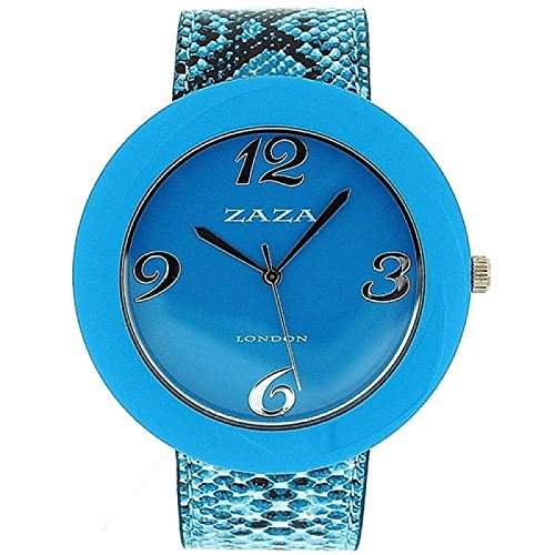 ZAZA LONDON LLB855 Modische Damenarmbanduhr mit blauem Ziffernblatt und PU-Armband in Kroko-Optik