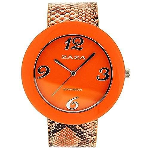 ZAZA LONDON Modische Damenarmbanduhr mit orangefarbenem Ziffernblatt und PU-Armband in Kroko-Optik