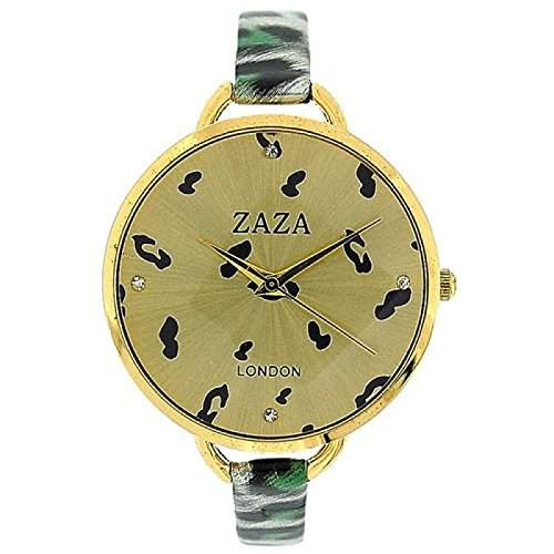 ZAZA LONDON Modische Damenarmbanduhr in gruenem Leopard-Design und goldenem Ziffernblatt