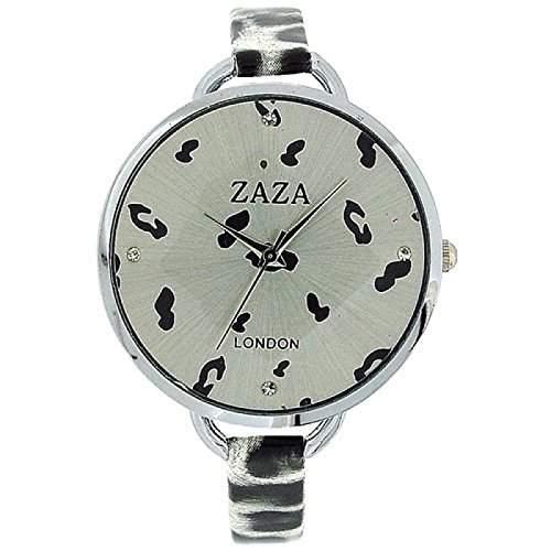 ZAZA LLB872 Modische Damenarmbanduhr in schwarz-weissem Leopard-Design und silbernem Ziffernblatt
