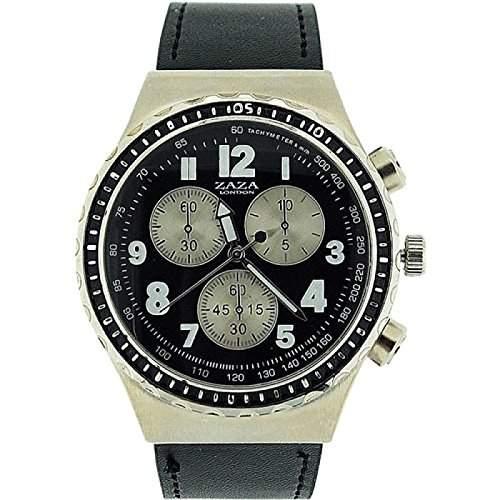 ZAZA LONDON Herrenarmbanduhr, Chrono-Effekt, schwarzes Armband MLB458