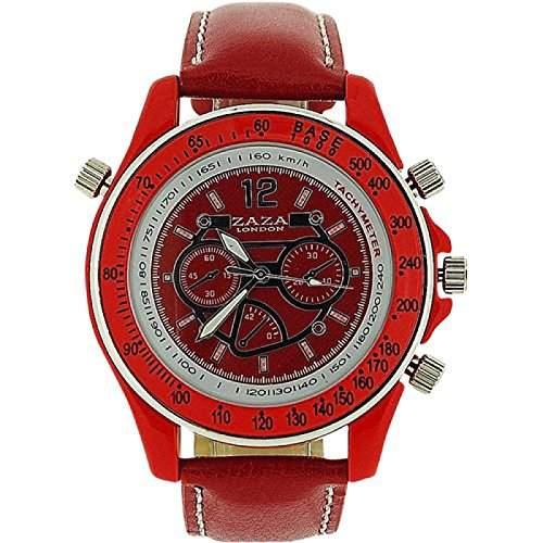ZAZA LONDON Unisex TachymeterSchnellmesser fuer Damen und Herren, Chrono-Effekt, rotes Armband MLB465